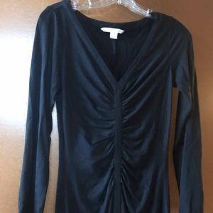 DVF Black Ruched Dress